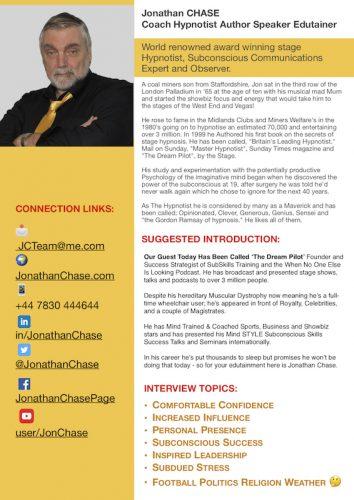 Jonathan Chase media and podcast onesheet TN